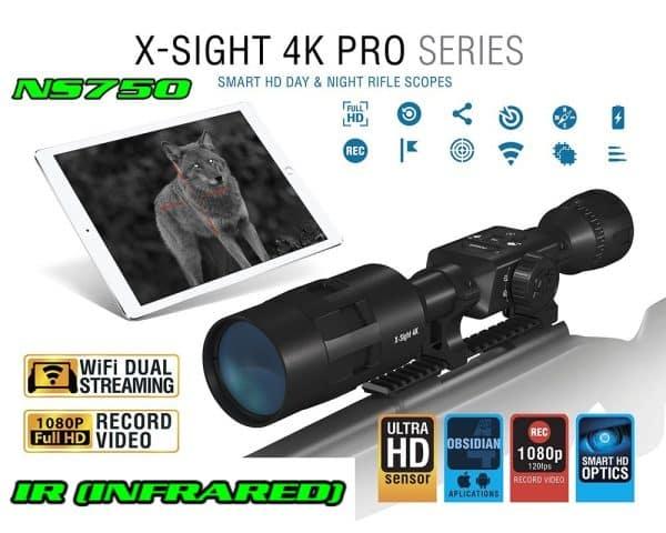 ATN X-Sight 4K Pro 3-14x DayNight Riflescope-NightSnipe NS750 EXTREME DIMMER IR Illuminator Combo Kit